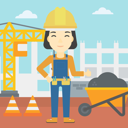 construction equipment: An asian builder in helmet giving thumb up. A builder with thumb up on a construction site. A woman giving thumb up on a background of road works. Vector flat design illustration. Square layout. Illustration