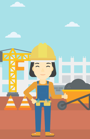 An asian builder in helmet giving thumb up. A builder with thumb up on a construction site. A woman giving thumb up on a background of road works. Vector flat design illustration. Vertical layout.