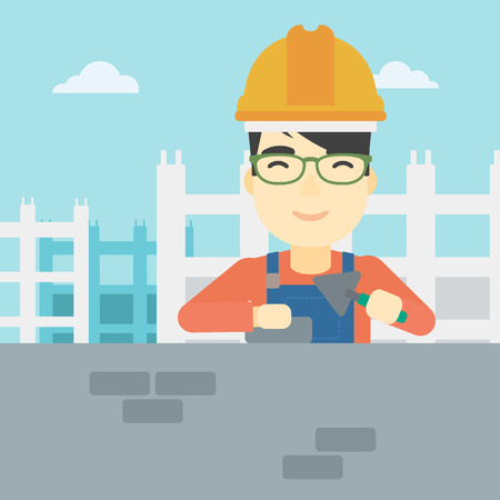 A n asian bricklayer in uniform and hard hat. Bricklayer working with a spatula and a brick in hands on construction site. Vector flat design illustration. Square layout. Illustration