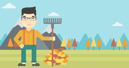 asian gardening: An asian young man raking autumn leaves. Man with rake standing near tree and heap of autumn leaves. Man tidying autumn leaves in garden. Vector flat design illustration. Horizontal layout.
