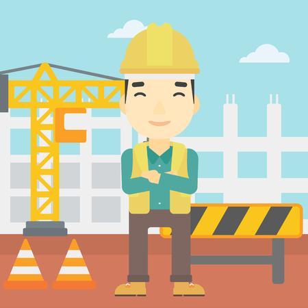 arquitecto caricatura: Un constructor asiático con los brazos cruzados. constructor confía en un fondo del emplazamiento de la obra. Constructor en casco en el fondo de obras viales. Vector de diseño plano ilustración. de planta cuadrada.