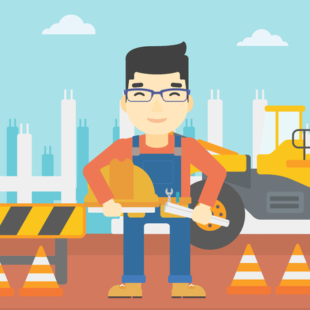 checking: An asian engineer with a blueprint at construction site. Man holding a twisted blueprint and hard hat. Man checking construction works. Vector flat design illustration. Square layout.