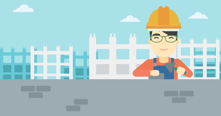 A n asian bricklayer in uniform and hard hat. Bricklayer working with a spatula and a brick in hands on construction site. Vector flat design illustration. Horizontal layout.