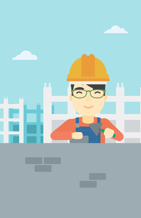 brick and mortar: A n asian bricklayer in uniform and hard hat. Bricklayer working with a spatula and a brick in hands on construction site. Vector flat design illustration. Vertical layout. Illustration