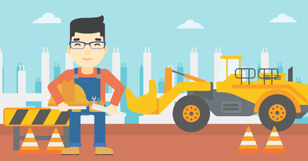 An asian engineer with a blueprint at construction site. Man holding a twisted blueprint and hard hat. Man checking construction works. Vector flat design illustration. Horizontal layout.