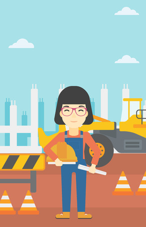 asian architect: An asian engineer with a blueprint at construction site. Woman holding a twisted blueprint and hard hat. Woman checking construction works. Vector flat design illustration. Vertical layout.