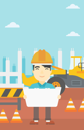 draftsman: An asian engineer watching a blueprint at construction site. Man with engineer blueprint. Engineer holding a blueprint. Vector flat design illustration. Vertical layout.