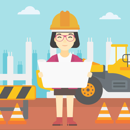 construction draftsman: An asian engineer watching a blueprint at construction site. Woman with engineer blueprint. Engineer holding a blueprint. Vector flat design illustration. Square layout.