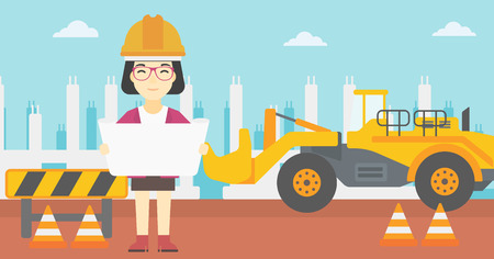 construction draftsman: An asian engineer watching a blueprint at construction site. Woman with engineer blueprint. Engineer holding a blueprint. Vector flat design illustration. Horizontal layout.