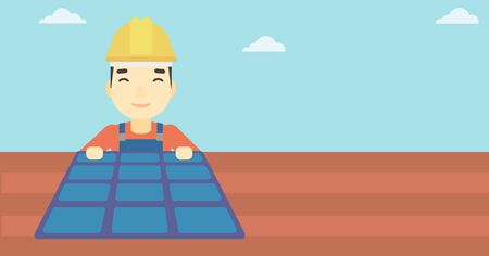 panels: An asian man installing solar panels on roof. Technician in inuform and hard hat checking solar panels on roof. Vector flat design illustration. Horizontal layout. Illustration