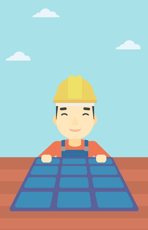 hard hat: An asian man installing solar panels on roof. Technician in inuform and hard hat checking solar panels on roof. Vector flat design illustration. Vertical layout.