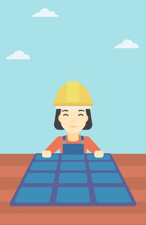 checking: An asian woman installing solar panels on roof. Technician in inuform and hard hat checking solar panels on roof. Vector flat design illustration. Vertical layout.