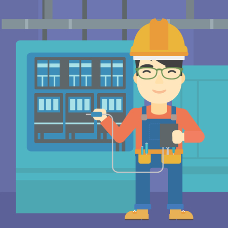 switchboard: An asian man in helmet measuring the voltage output. Young electrician with electrical equipment standing in front of switchboard. Vector flat design illustration. Square layout. Illustration