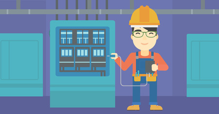 switchboard: An asian man in helmet measuring the voltage output. Young electrician with electrical equipment standing in front of switchboard. Vector flat design illustration. Horizontal layout.