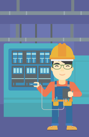 switchboard: An asian man in helmet measuring the voltage output. Young electrician with electrical equipment standing in front of switchboard. Vector flat design illustration. Vertical layout.