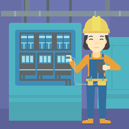 An asian woman in helmet measuring the voltage output. Young electrician with electrical equipment standing in front of switchboard. Vector flat design illustration. Square layout.