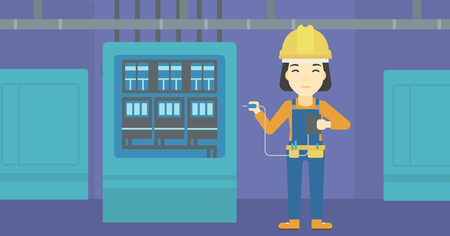 switchboard: An asian woman in helmet measuring the voltage output. Young electrician with electrical equipment standing in front of switchboard. Vector flat design illustration. Horizontal layout.