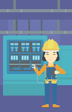 An asian woman in helmet measuring the voltage output. Young electrician with electrical equipment standing in front of switchboard. Vector flat design illustration. Vertical layout. Illustration