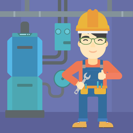 boiler: An asian repairman with a spanner in hand. A repairman giving thumb up. A repairman at domestic household boiler room. Vector flat design illustration. Square layout.