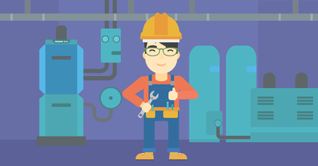 boiler: An asian repairman with a spanner in hand. A repairman giving thumb up. A repairman at domestic household boiler room. Vector flat design illustration. Horizontal layout.