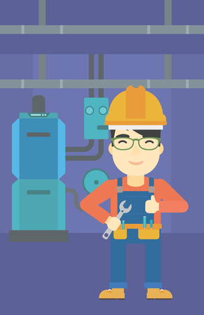 boiler: An asian repairman with a spanner in hand. A repairman giving thumb up. A repairman at domestic household boiler room. Vector flat design illustration. Vertical layout. Illustration