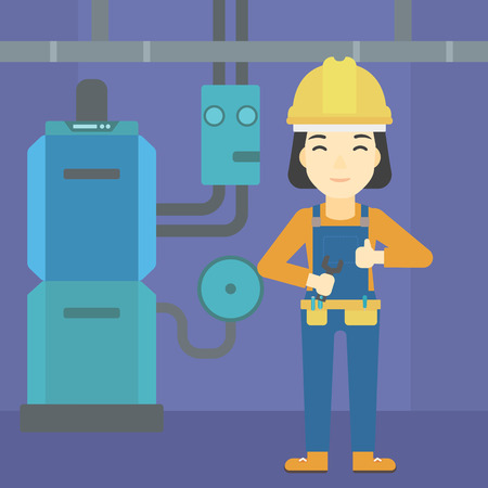 boiler: An asian female repairer engineer with a spanner in hand. A repairman giving thumb up. A repairman at domestic household boiler room. Vector flat design illustration. Square layout.