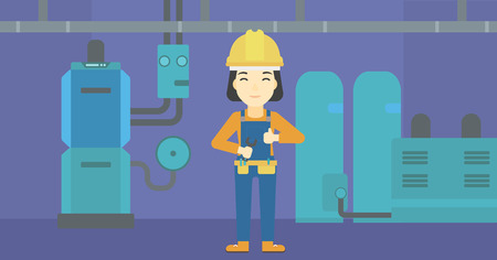 boiler: An asian female repairer engineer with a spanner in hand. A repairman giving thumb up. A repairman at domestic household boiler room. Vector flat design illustration. Horizontal layout.