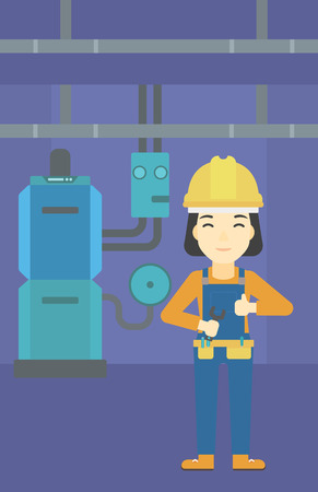 boiler: An asian female repairer engineer with a spanner in hand. A repairman giving thumb up. A repairman at domestic household boiler room. Vector flat design illustration. Vertical layout.