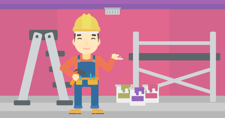 An asian man in helmet with a hummer and a nail in hands standing on the background of purple walls, paint cans and ladder vector flat design illustration. Horizontal layout. Illustration