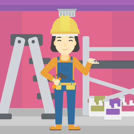 repairman: An asian woman in helmet with a hummer and a nail in hands standing on the background of purple walls, paint cans and ladder vector flat design illustration. Square layout. Illustration