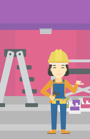 paint cans: An asian woman in helmet with a hummer and a nail in hands standing on the background of purple walls, paint cans and ladder vector flat design illustration. Vertical layout. Illustration
