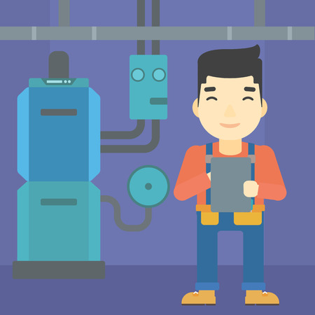 boiler: An asian man making some notes in his tablet on a background of domestic household boiler room with heating system and pipes vector flat design illustration. Square layout. Illustration
