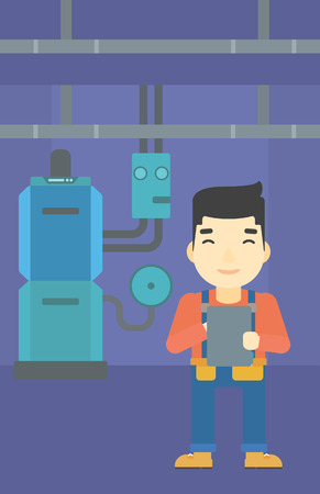 boiler: An asian man making some notes in his tablet on a background of domestic household boiler room with heating system and pipes vector flat design illustration. Vertical layout.