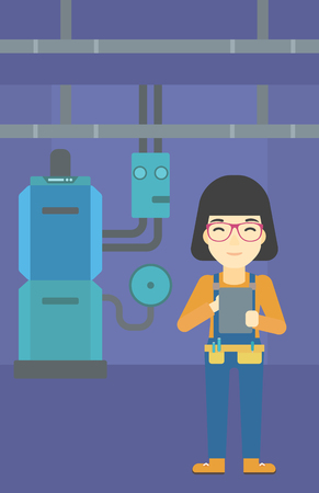 boiler: An asian woman making some notes in her tablet on a background of domestic household boiler room with heating system and pipes vector flat design illustration. Vertical layout. Illustration