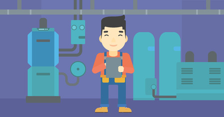 An asian man making some notes in his tablet on a background of domestic household boiler room with heating system and pipes vector flat design illustration. Horizontal layout. 向量圖像