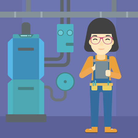 boiler room: An asian woman making some notes in her tablet on a background of domestic household boiler room with heating system and pipes vector flat design illustration. Square layout.