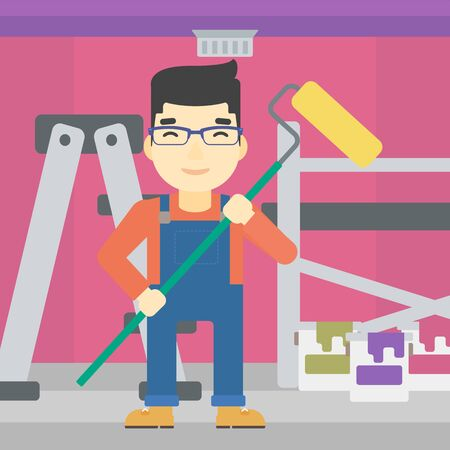 paint can: An asian painter in uniform with a paint roller in hands. Painter at work in an apartment with paint cans and ladder. Vector flat design illustration. Square layout.