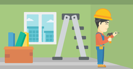 nailing: An asian worker hammering a nail into the wall. Worker in overalls and hard hat nailing with hammer in apartment. Vector flat design illustration. Horizontal layout.