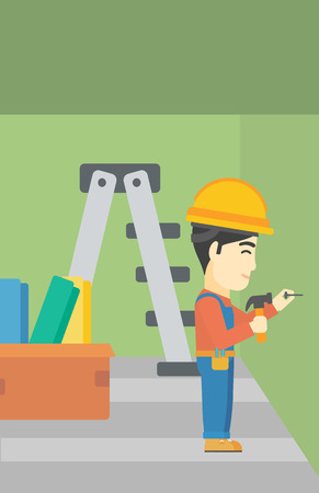 nailing: An asian worker hammering a nail into the wall. Worker in overalls and hard hat nailing with hammer in apartment. Vector flat design illustration. Vertical layout.