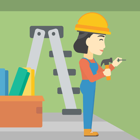 carpentry cartoon: An asian female worker hammering a nail into the wall. Worker in overalls and hard hat nailing with hammer in apartment. Vector flat design illustration. Square layout. Illustration