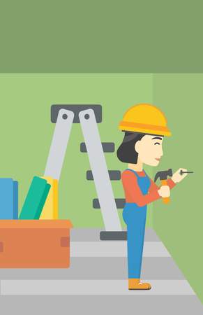 nailing: An asian female worker hammering a nail into the wall. Worker in overalls and hard hat nailing with hammer in apartment. Vector flat design illustration. Vertical layout. Illustration