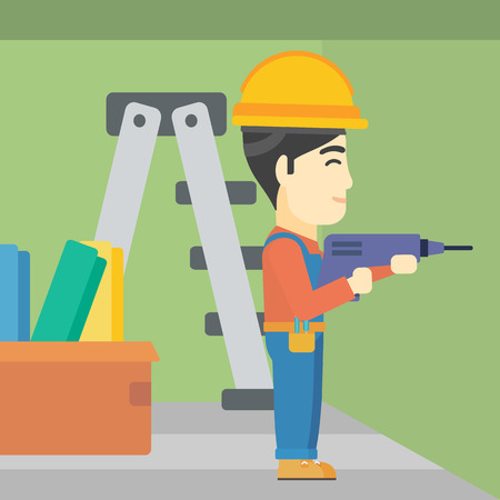 hard working man: An asian worker drilling a hole in the wall. A man in overalls and hard hat working with hammer drill. Vector flat design illustration. Square layout. Illustration