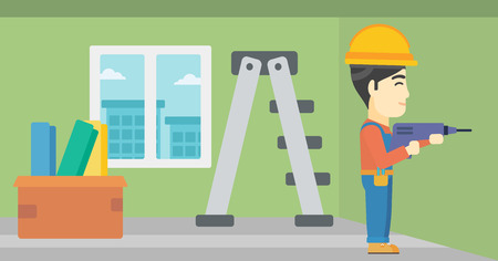 hard working man: An asian worker drilling a hole in the wall. A man in overalls and hard hat working with hammer drill. Vector flat design illustration. Horizontal layout. Illustration
