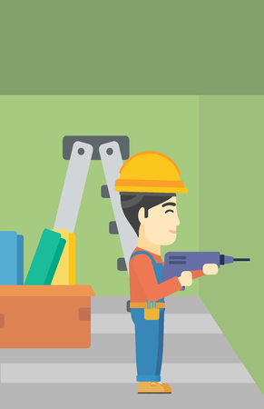 hard working man: An asian worker drilling a hole in the wall. A man in overalls and hard hat working with hammer drill. Vector flat design illustration. Vertical layout. Illustration