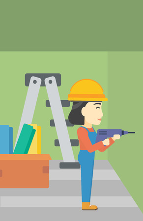 hammer drill: An asian female worker drilling a hole in the wall. A man in overalls and hard hat working with hammer drill. Vector flat design illustration. Vertical layout.