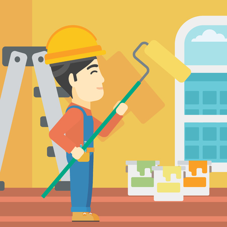 interior decoration: An asian painter in overalls with a paint roller in hands. Painter painting walls with a paint roller in an apartment. Vector flat design illustration. Square layout.