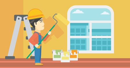 An asian painter in overalls with a paint roller in hands. Painter painting walls with a paint roller in an apartment. Vector flat design illustration. Horizontal layout.