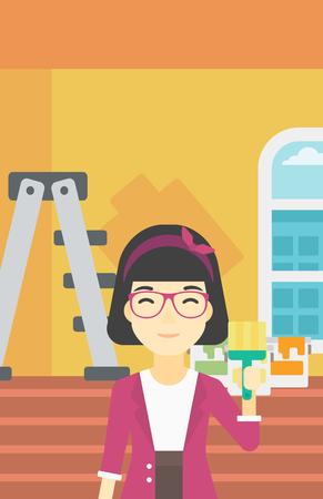 An asian female painter holding a paint brush. Painter painting walls with paint brush at home. House renovation concept. Vector flat design illustration. Vertical layout. Illustration