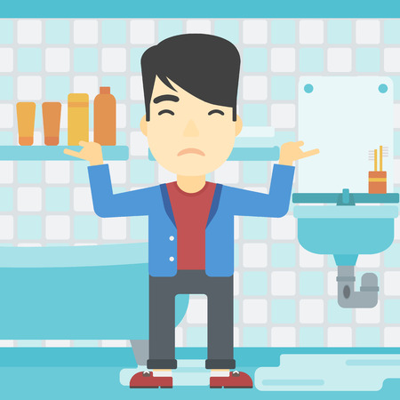 leaking: An asian man with spread arms standing near leaking sink in the bathroom vector flat design illustration. Square layout.