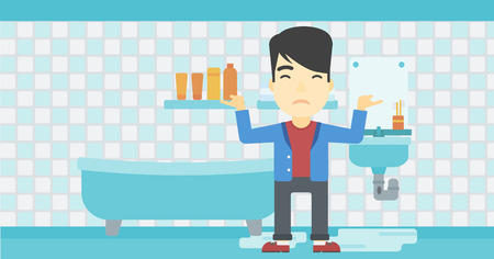 leaking: An asian man with spread arms standing near leaking sink in the bathroom vector flat design illustration. Horizontal layout.